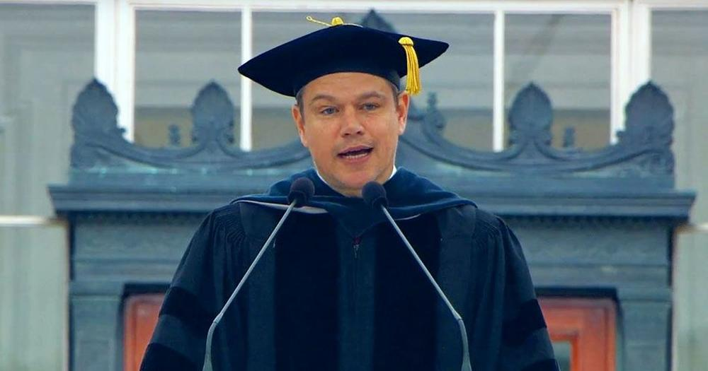 Matt Damon uses tech, sci-fi to deliver powerful message to MIT grads