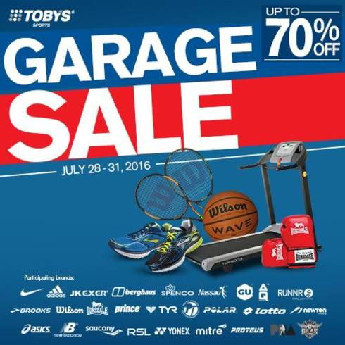 Toby's Sports Garage Sale on July 28 – 31, 2016 | Smart Social Shopping