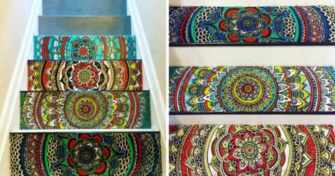 I Turned My Boring Stairs Into A Colorful Mandala