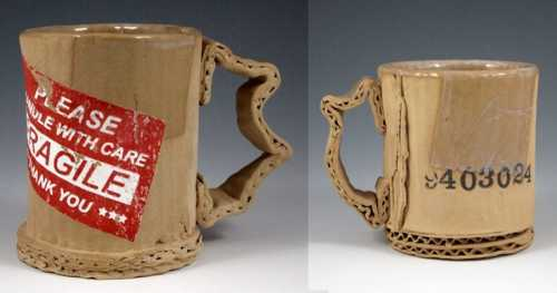 Ceramic Mugs That Imitate Used Cardboard by Artist Tim Kowalczyk