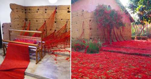 A Mass of Tangled Red Yarn Unravels from a Loom to Overtake a Brazilian Chapel