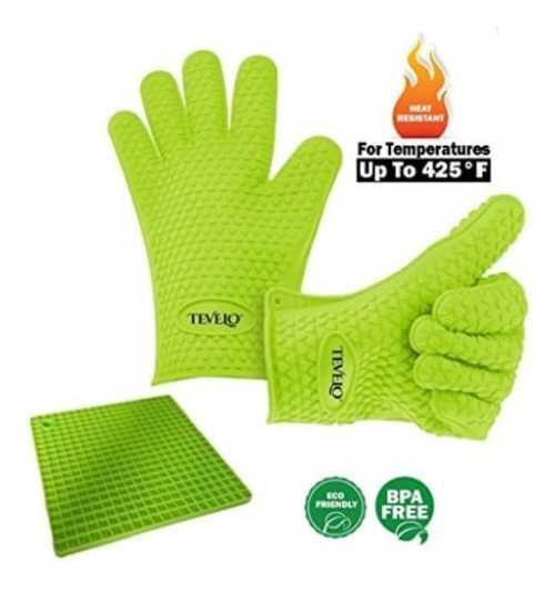 Silicone heat resistant heavy duty gloves pair + free mat, d... via michael jones