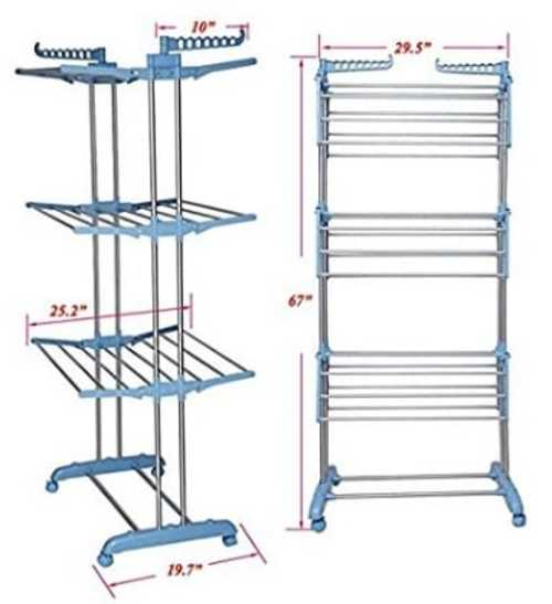Tommly Stainless Steel Foldable Clothes Drying Rack                                     6 Fully ... via michael jones