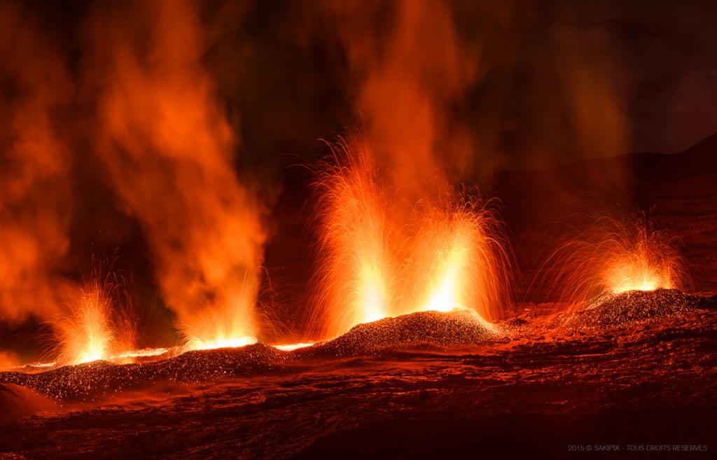 "Volcanic eruption in Reunion Island.                                         The ""Piton de la Fourna... via Gaël SARTRE"