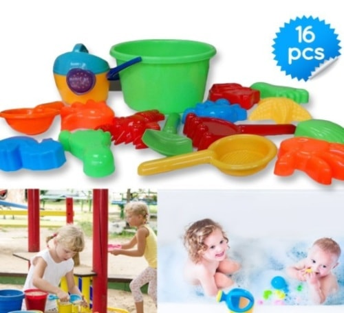 Sand Bucket Toys Icon 16-Piece Baby Beach Toys Set with Zipp... via michael jones