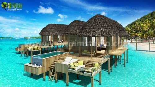 3D Beautiful Beach Water House Design Ideas Canada via Yantram Studio