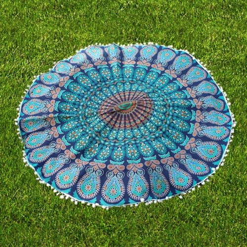 Blue Diy Pom Pom Cushion Cover