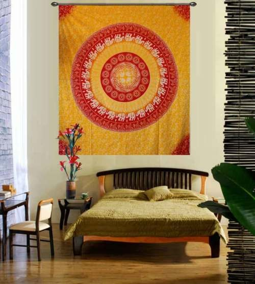 Yellow and Red Elephant Print Mandala Tapestry