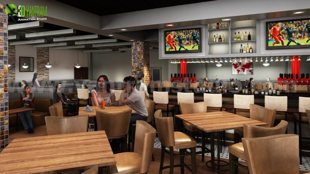 Inspiring Restaurant Bars Modern Design by Yantram 3d interi... via Yantram Studio