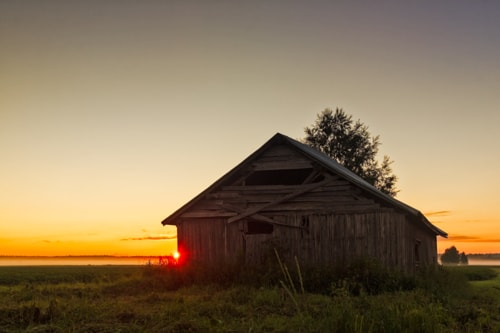 Midsummer Sunset Behind A Barn House via Jukka Heinovirta