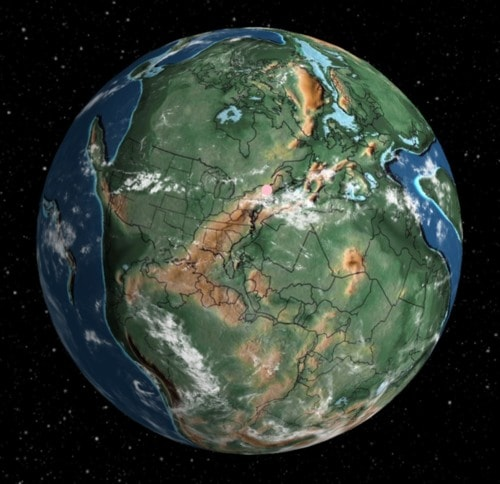 Locate modern addresses on Earth 240 million years ago