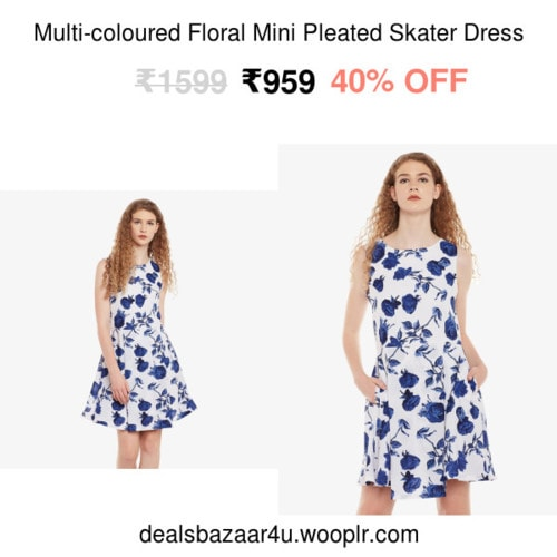 Multi-coloured Floral Mini Pleated Skater Dress | Only on dealsbazaar4u.wooplr.com | Best Dresses Online