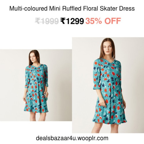 Multi-coloured Mini Ruffled Floral Skater Dress | Only on dealsbazaar4u.wooplr.com | Best Dresses Online