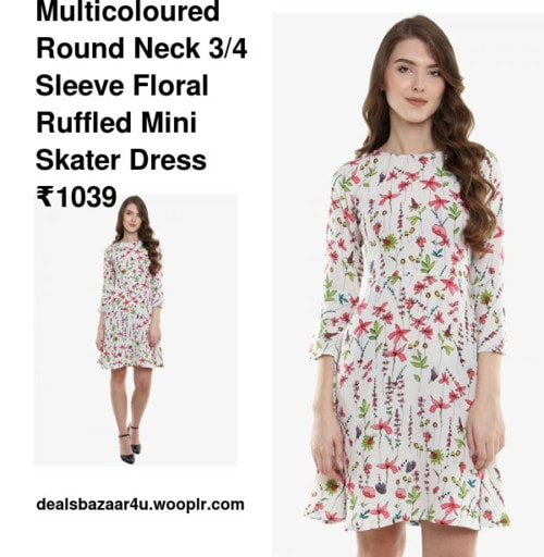 Multicoloured Round Neck 3/4 Sleeve Floral Ruffled Mini Skater Dress | Only on dealsbazaar4u.wooplr.com | Best Dresses Online