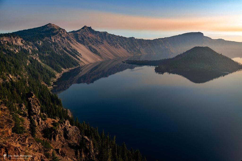 Wizard Island on a Smokey Morning via John Hight