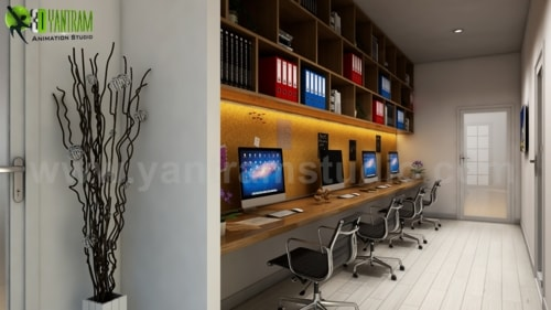 Take Advantage Computer Room Rendering Ideas by Yantram 3d i... via Yantram Studio