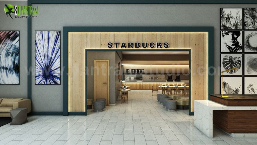 Modern Restaurant Entry & Interior Rendering Design ideas by... via Yantram Studio