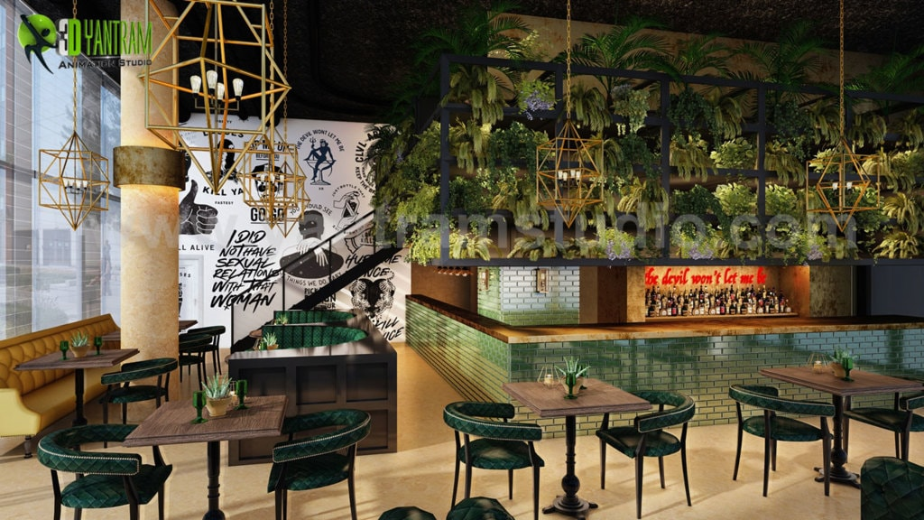 Modern Bar interior Concept Drawings by Yantram Interior Con... via Yantram Studio