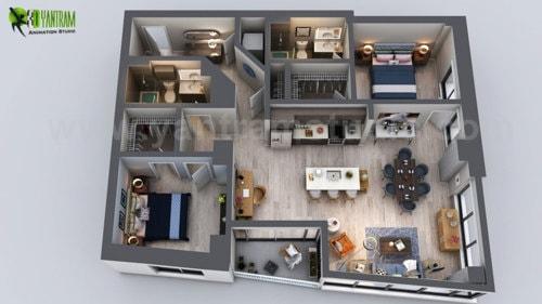 Unique Residential Apartment 3D Floor Plan Rendering Ideas b... via Yantram Studio