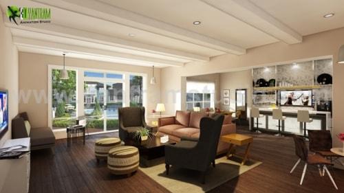 Amazing Club House Interior Design Firms with Wooden Furnitu... via Yantram Studio