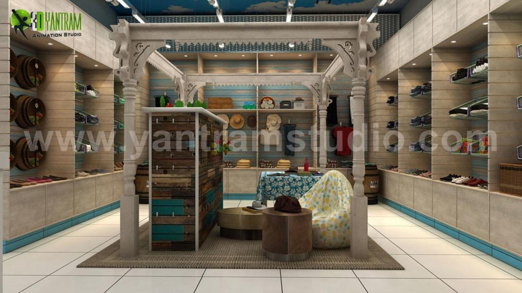 Semi-Classic Interior Cloth Shop Concept Drawings ideas by Y... via Yantram Studio