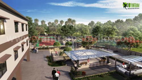 3D Architectural Residential Community Apartment Visualizati... via Yantram Studio
