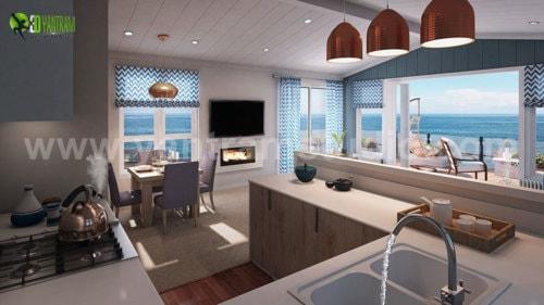 3D Residetial Interior Living and Kitchen Rendering Design S... via Yantram Studio