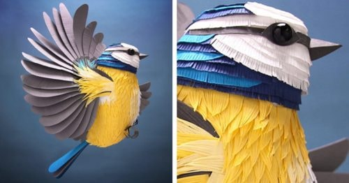 Artist's Hand-Cut Paper Sculptures Capture the Vibrant Energy of Birds, Bees, and Beyond