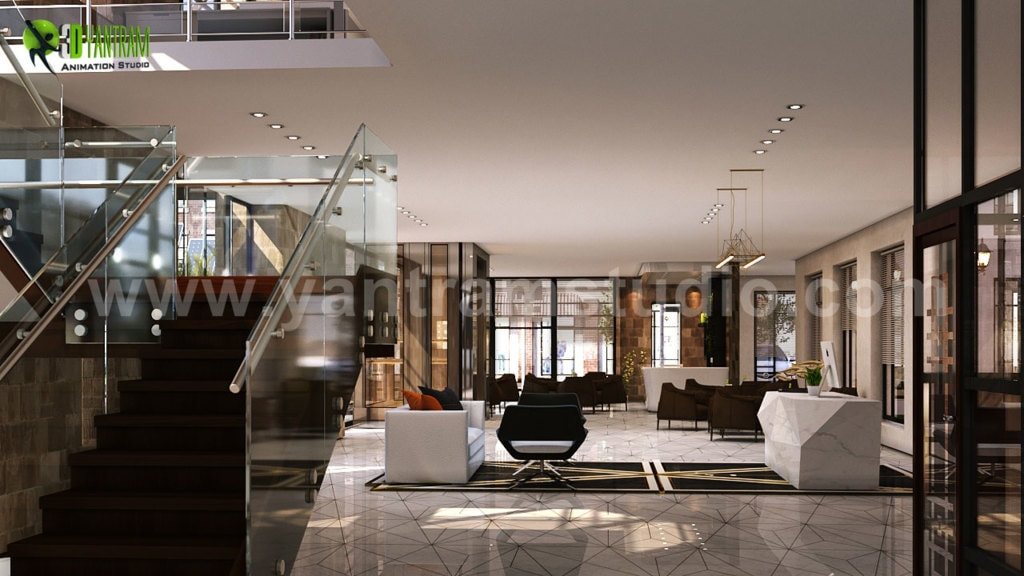 3D Interior Cafe & Reception Rendering ideas by Yantram Arch... via Yantram Studio