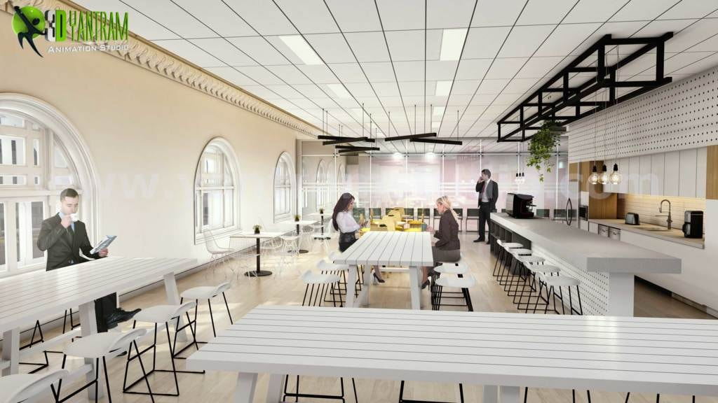 3D Walkthrough Visualization of Interior Office Space by Yan... via Yantram Studio