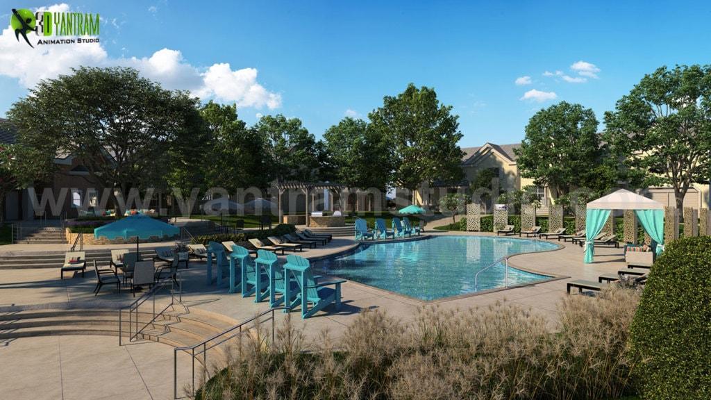 Exterior Pool View Rendering Services By Yantram Architectur... via Yantram Studio