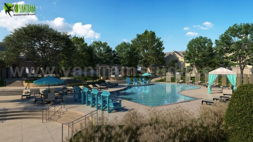 Exterior Pool View Rendering Services By Yantram Architectur... via Yantram Studio