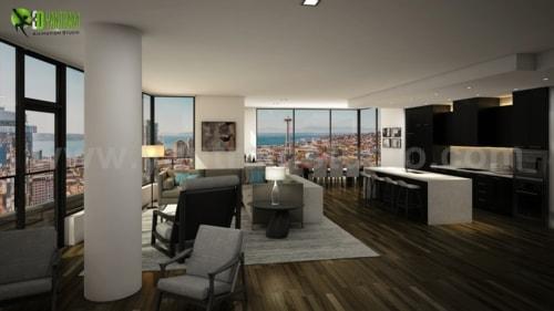 Modern 3d Interior Kitchen & Living Rendering Services by Ya... via Yantram Studio
