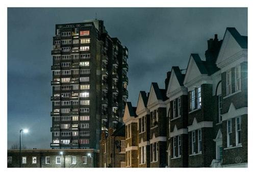 Night scene of resedential buildings in London via Nikolay Mirchev