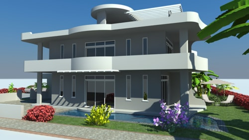 Luxurious 3D Rendering Model of Row-House via TrueCADD