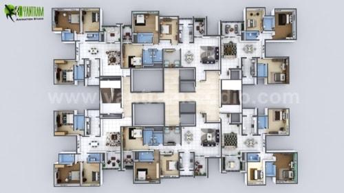 Creative 3D Floor Plan of Entire Apartment Floor Developed b... via Yantram Studio