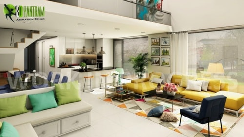 3D Interior Open Kitchen with Living Room Designers by Yantr... via Yantram Studio