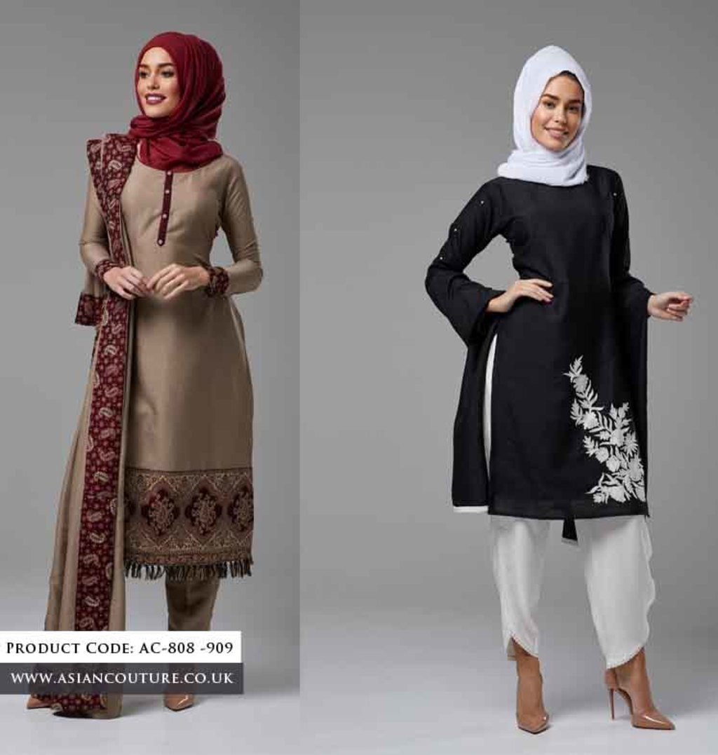 Linen Winter Salwar Suits with Pashmina Shawls/Scarfs via Asian Couture