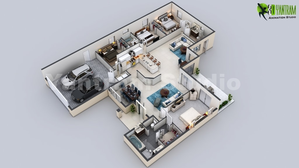3D Virtual Floor Plan of Luxurious Villa Design by Yantram A... via Yantram Studio