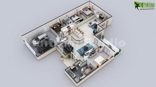 3D Virtual Floor Plan of Luxurious Villa Design by Yantram A... via Yantram Studio