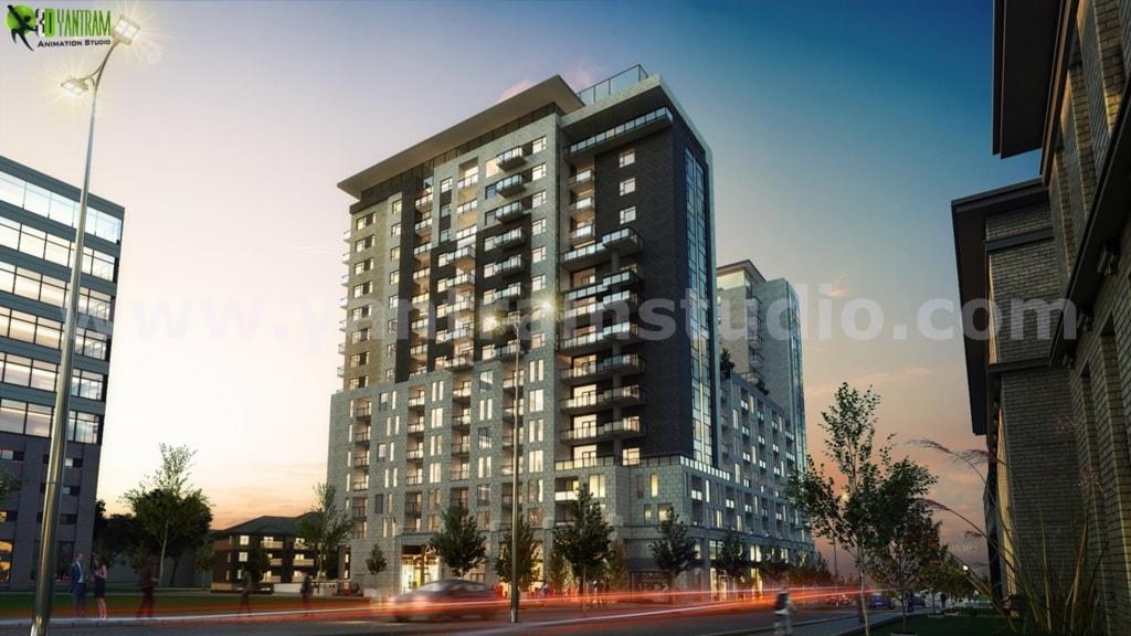 Dusk View Of A Super Modern High Rise Building Exterior Desi... via Yantram Studio