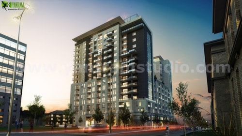 Dusk View Of A Super Modern High Rise Building Exterior Desi... via Yantram Studio