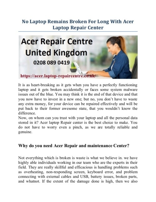 No Laptop Remains Broken For Long With Acer Laptop Repair Center