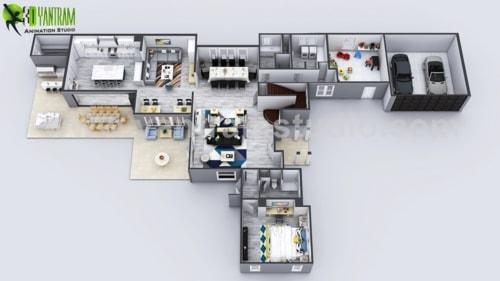 Exclusive New Modern House Virtual Floor Plan By Yantram 3D ... via Yantram Studio