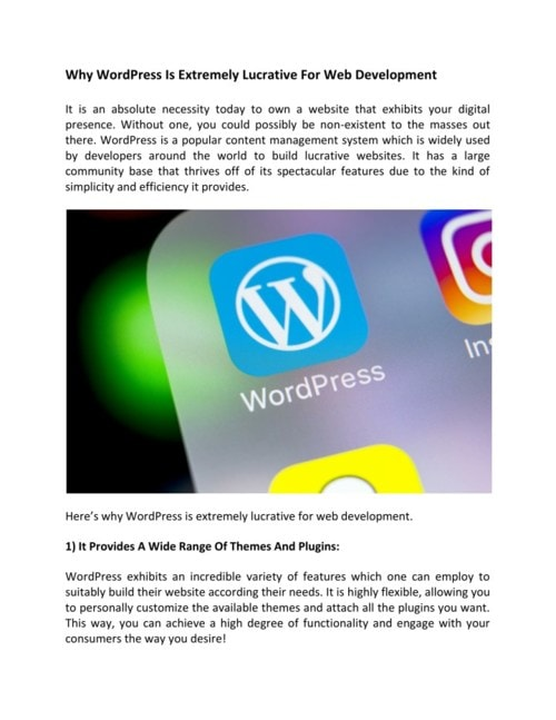 Why WordPress Is Extremely Lucrative For Web Development