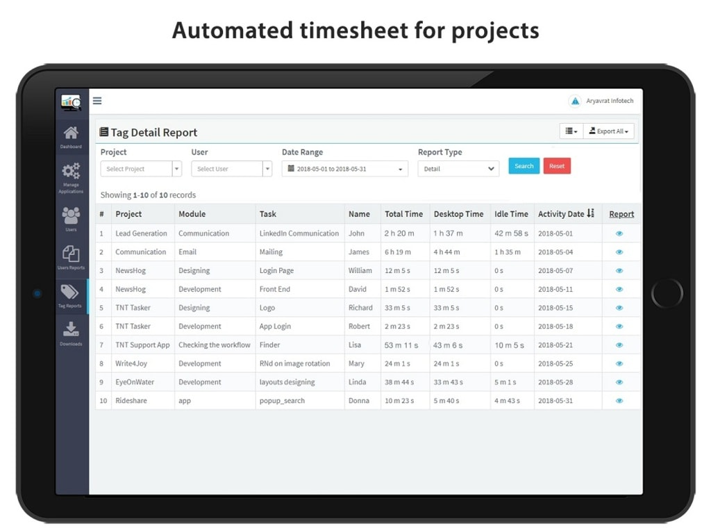 Employee Task Tracking Software via TimenTask