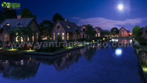 Romantic Night View of Waterside Villa 3D Exterior Modelling... via Yantram Studio