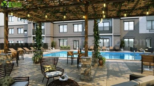 3D Exterior Rendering of Courtyard & Pool Design  By Yantram... via Yantram Studio