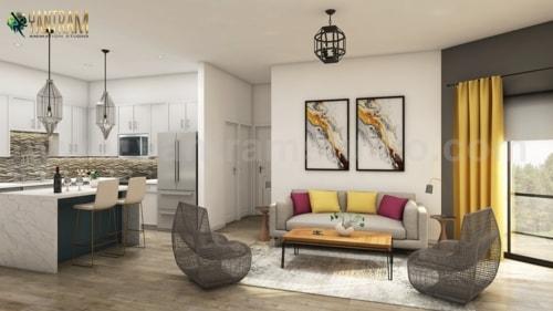 Trendy Open Kitchen with Living Room Design Of 3D Interior M... via Yantram Studio