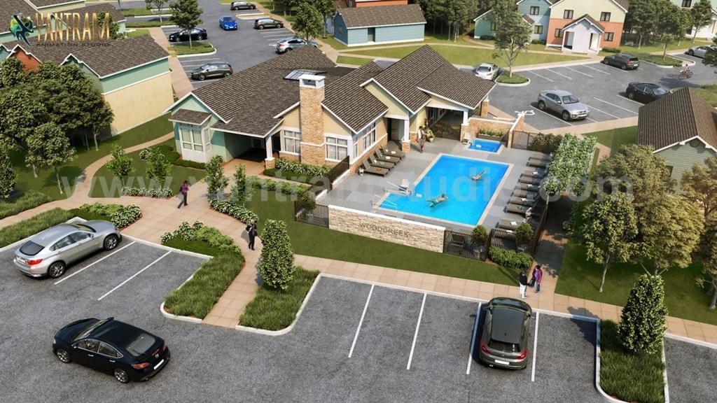 3D Interior & Exterior Rendering Design with Pool & parking ... via Yantram Studio